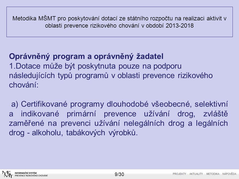 Metodika MŠMT pro poskytování dotací ze státního rozpočtu na realizaci aktivit v oblasti prevence rizikového chování v období 2013-2018 9/30 Oprávněný