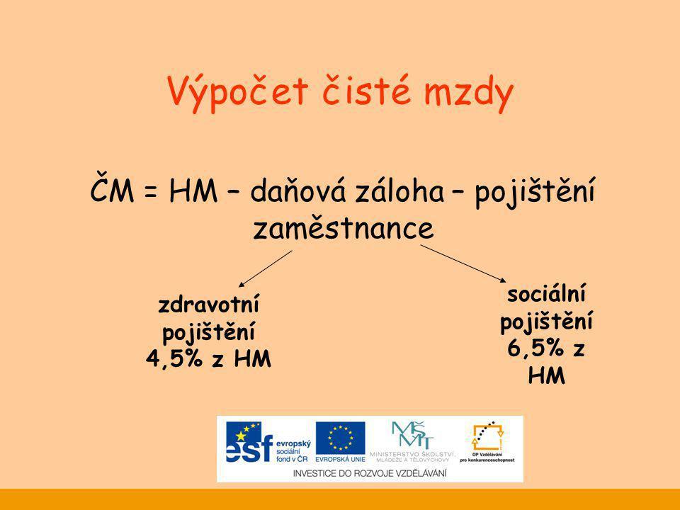 Výpočet čisté mzdy ČM = HM – daňová záloha – pojištění zaměstnance zdravotní pojištění 4,5% z HM sociální pojištění 6,5% z HM