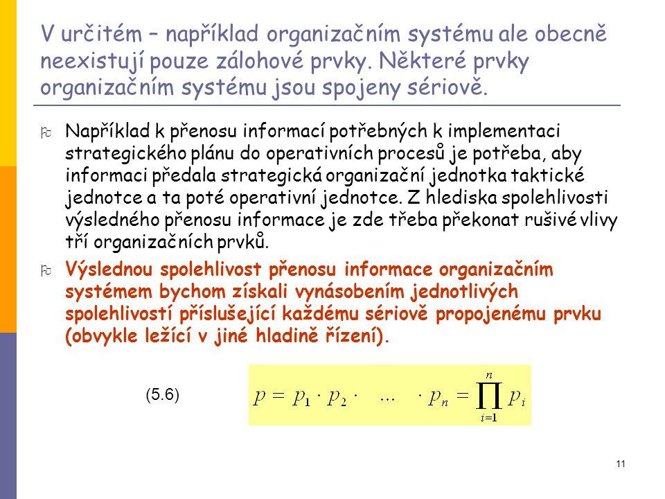 11 V určitém – například organizačním systému ale obecně neexistují pouze zálohové prvky.