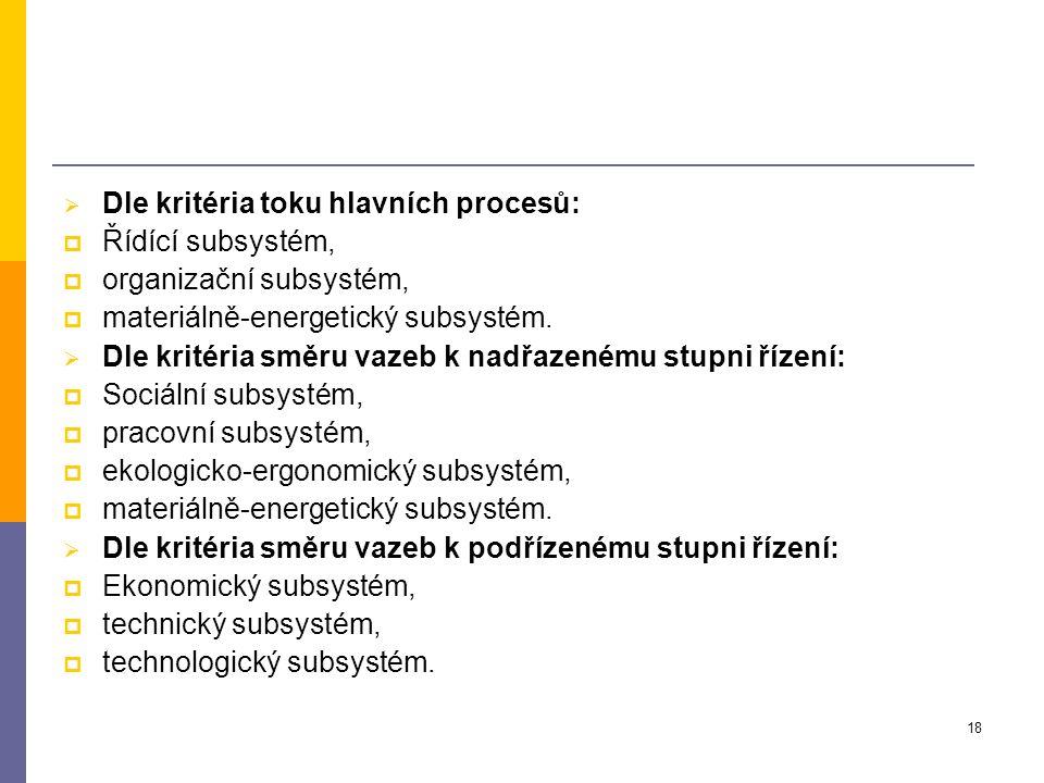 18  Dle kritéria toku hlavních procesů:  Řídící subsystém,  organizační subsystém,  materiálně-energetický subsystém.