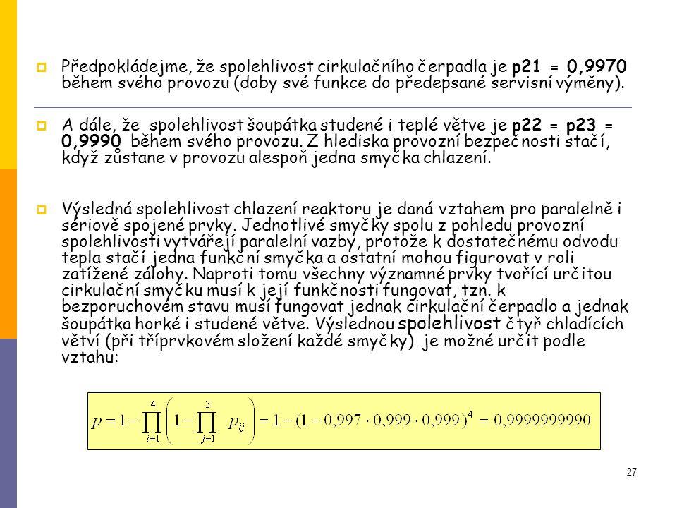 27  Předpokládejme, že spolehlivost cirkulačního čerpadla je p21 = 0,9970 během svého provozu (doby své funkce do předepsané servisní výměny).