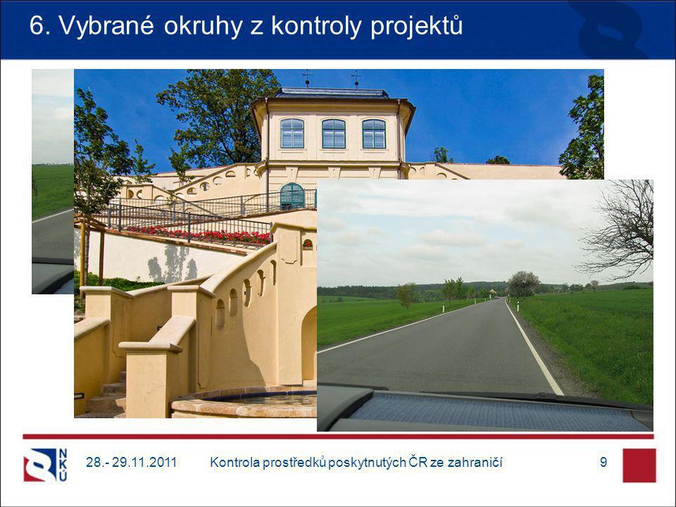 6. Vybrané okruhy z kontroly projektů 28.- 29.11.20119Kontrola prostředků poskytnutých ČR ze zahraničí