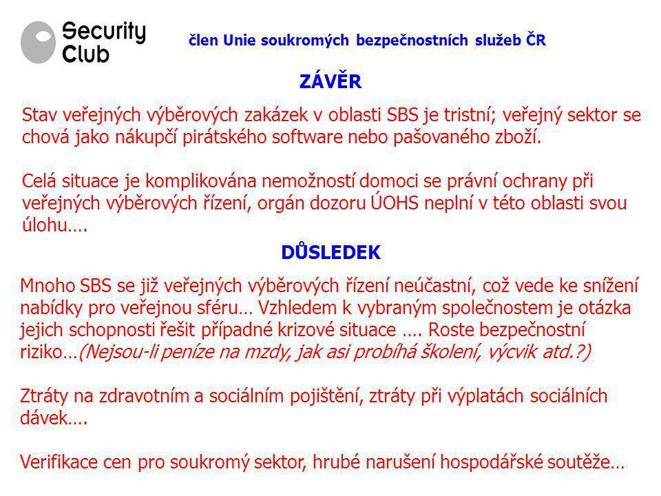člen Unie soukromých bezpečnostních služeb ČR ZÁVĚR Stav veřejných výběrových zakázek v oblasti SBS je tristní; veřejný sektor se chová jako nákupčí p