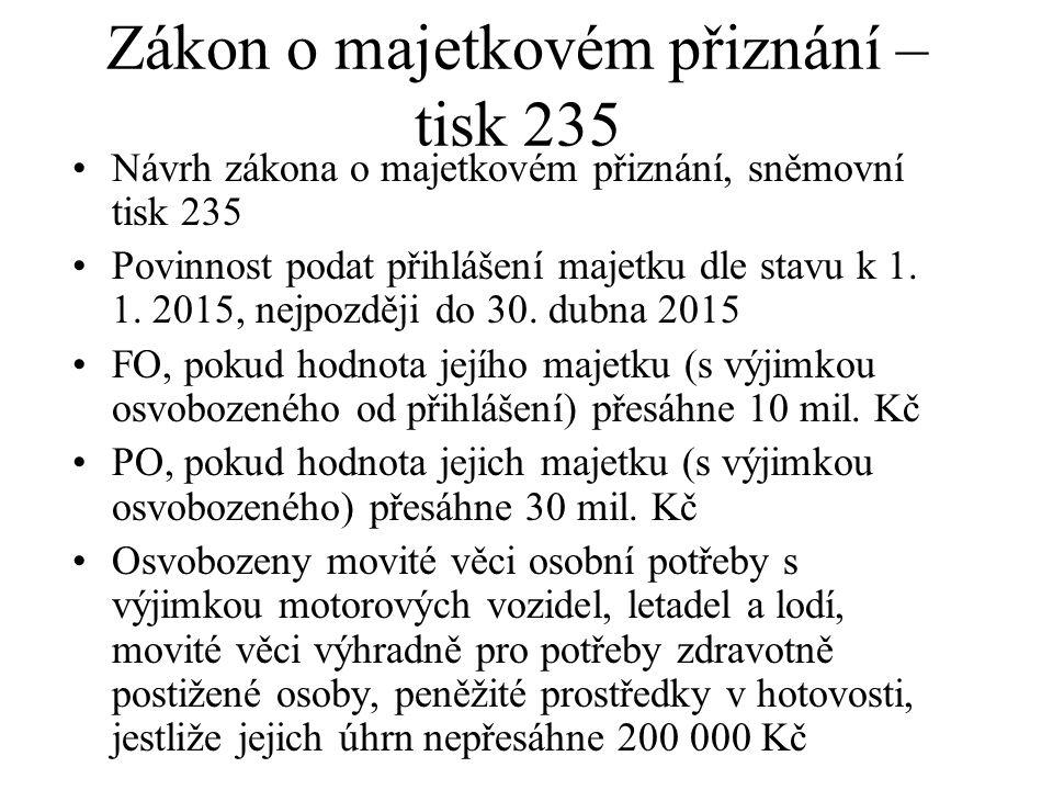 Zákon o majetkovém přiznání – tisk 235 Návrh zákona o majetkovém přiznání, sněmovní tisk 235 Povinnost podat přihlášení majetku dle stavu k 1. 1. 2015