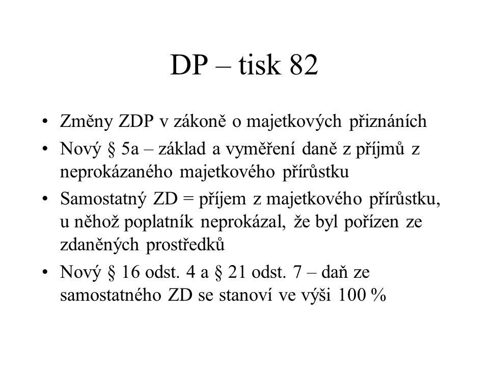 DP – tisk 82 Změny ZDP v zákoně o majetkových přiznáních Nový § 5a – základ a vyměření daně z příjmů z neprokázaného majetkového přírůstku Samostatný