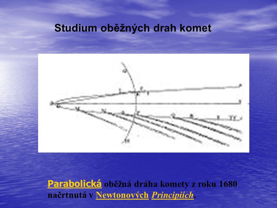 Studium oběžných drah komet Parabolická Parabolická oběžná dráha komety z roku 1680 načrtnutá v Newtonových Principiích.NewtonovýchPrincipiích