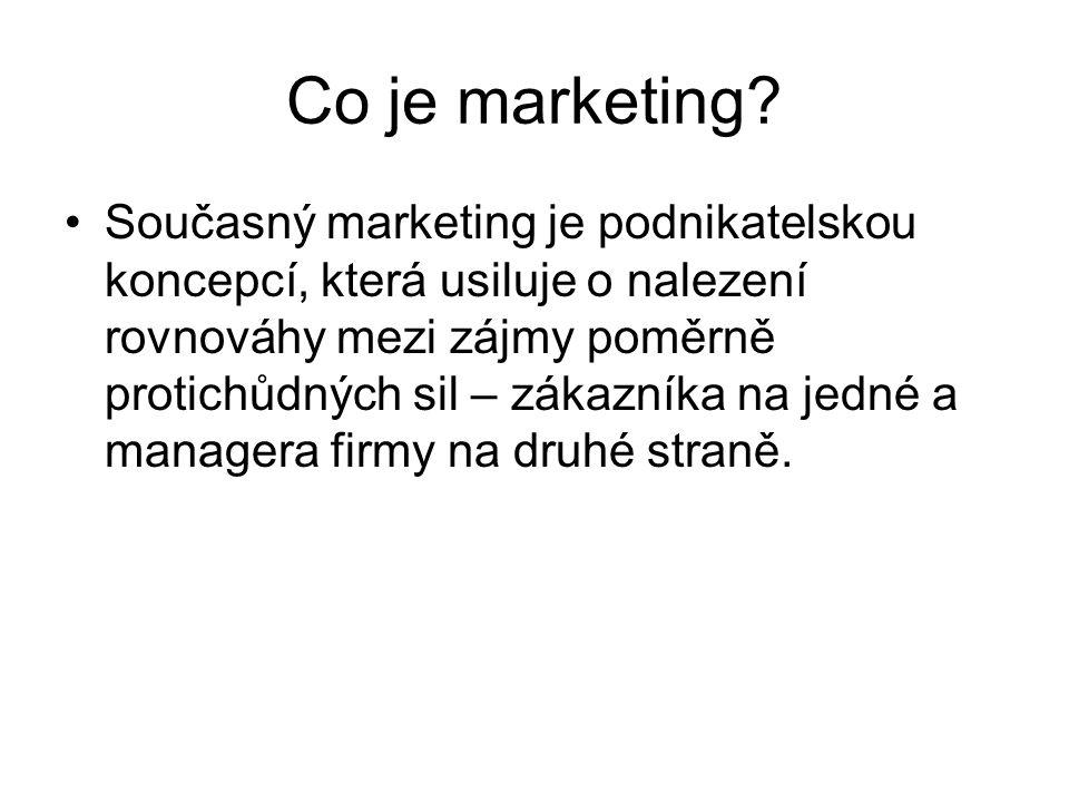 Současný marketing je podnikatelskou koncepcí, která usiluje o nalezení rovnováhy mezi zájmy poměrně protichůdných sil – zákazníka na jedné a managera firmy na druhé straně.