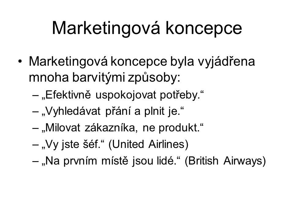 """Marketingová koncepce Marketingová koncepce byla vyjádřena mnoha barvitými způsoby: –""""Efektivně uspokojovat potřeby. –""""Vyhledávat přání a plnit je. –""""Milovat zákazníka, ne produkt. –""""Vy jste šéf. (United Airlines) –""""Na prvním místě jsou lidé. (British Airways)"""