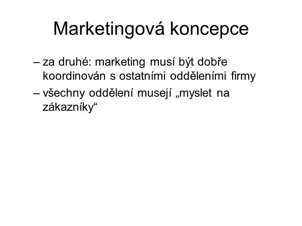 """Marketingová koncepce –za druhé: marketing musí být dobře koordinován s ostatními odděleními firmy –všechny oddělení musejí """"myslet na zákazníky"""