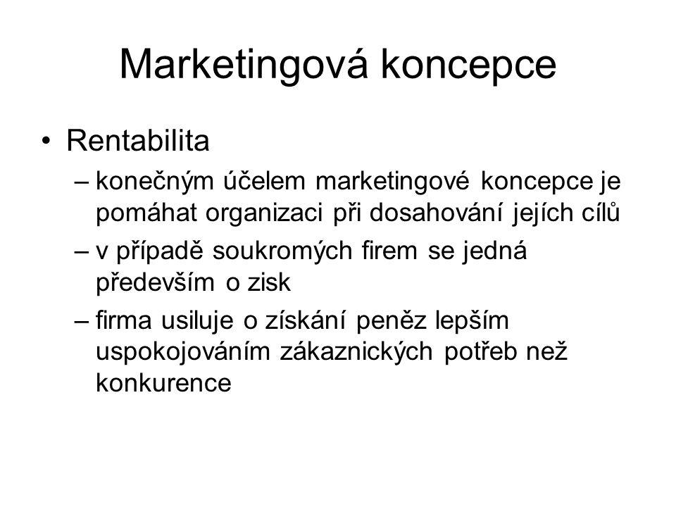 Marketingová koncepce Rentabilita –konečným účelem marketingové koncepce je pomáhat organizaci při dosahování jejích cílů –v případě soukromých firem se jedná především o zisk –firma usiluje o získání peněz lepším uspokojováním zákaznických potřeb než konkurence