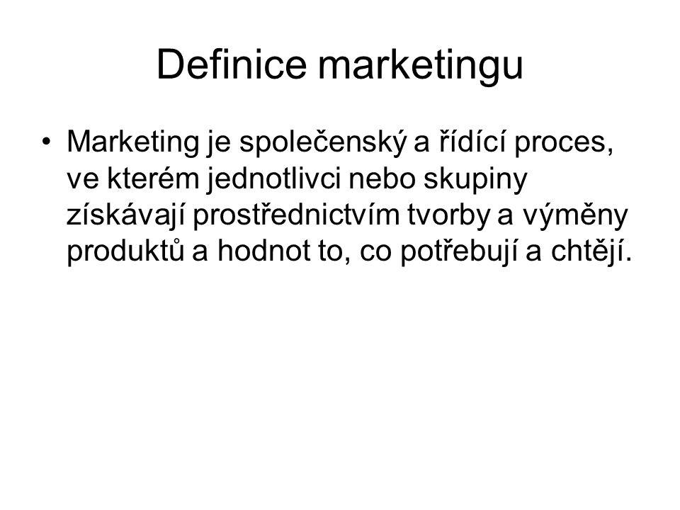 Definice marketingu Marketing je společenský a řídící proces, ve kterém jednotlivci nebo skupiny získávají prostřednictvím tvorby a výměny produktů a hodnot to, co potřebují a chtějí.