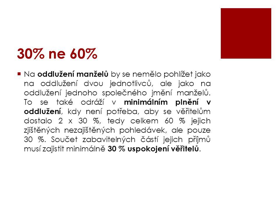30% ne 60%  Na oddlužení manželů by se nemělo pohlížet jako na oddlužení dvou jednotlivců, ale jako na oddlužení jednoho společného jmění manželů. To