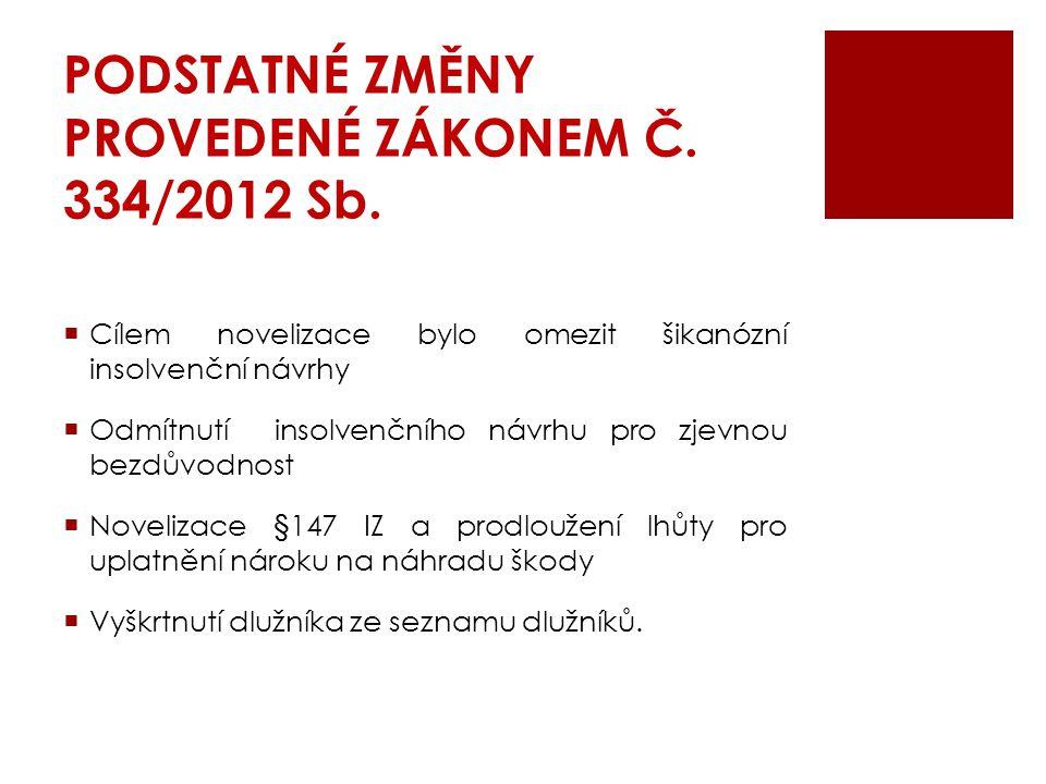 PODSTATNÉ ZMĚNY PROVEDENÉ ZÁKONEM Č. 334/2012 Sb.  Cílem novelizace bylo omezit šikanózní insolvenční návrhy  Odmítnutí insolvenčního návrhu pro zje