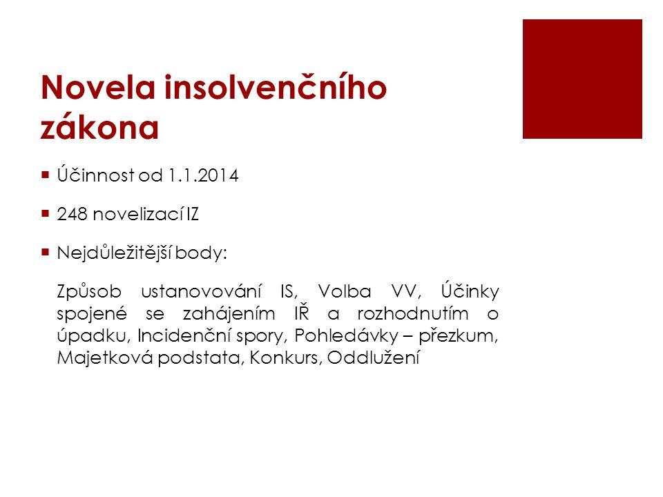 Novela insolvenčního zákona  Účinnost od 1.1.2014  248 novelizací IZ  Nejdůležitější body: Způsob ustanovování IS, Volba VV, Účinky spojené se zahá