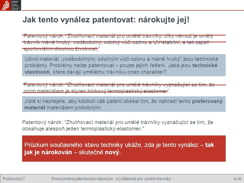 Podmodul CPorozumění patentovým nárokům - (c) Materiál pro umělé trávníky 4/16 Jak tento vynález patentovat: nárokujte jej.