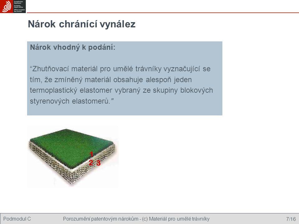 Podmodul CPorozumění patentovým nárokům - (c) Materiál pro umělé trávníky 7/16 Nárok chránící vynález Nárok vhodný k podání: Zhutňovací materiál pro umělé trávníky vyznačující se tím, že zmíněný materiál obsahuje alespoň jeden termoplastický elastomer vybraný ze skupiny blokových styrenových elastomerů.