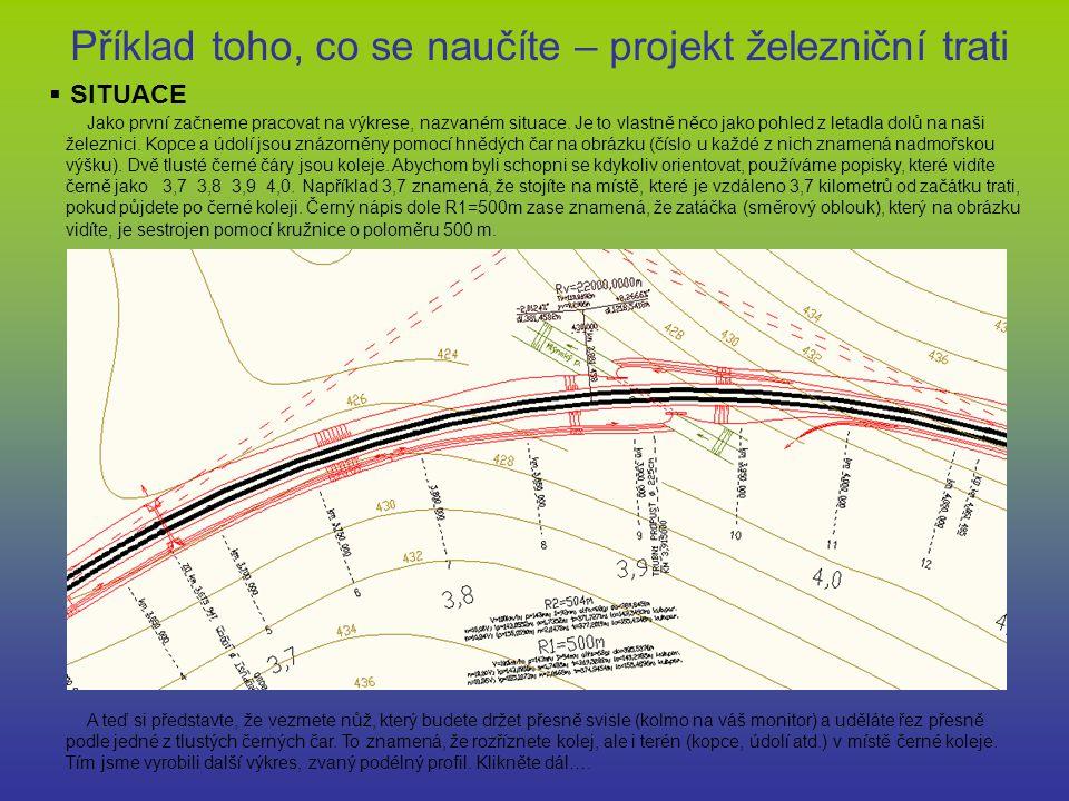 Příklad toho, co se naučíte – projekt železniční trati  SITUACE Jako první začneme pracovat na výkrese, nazvaném situace. Je to vlastně něco jako poh