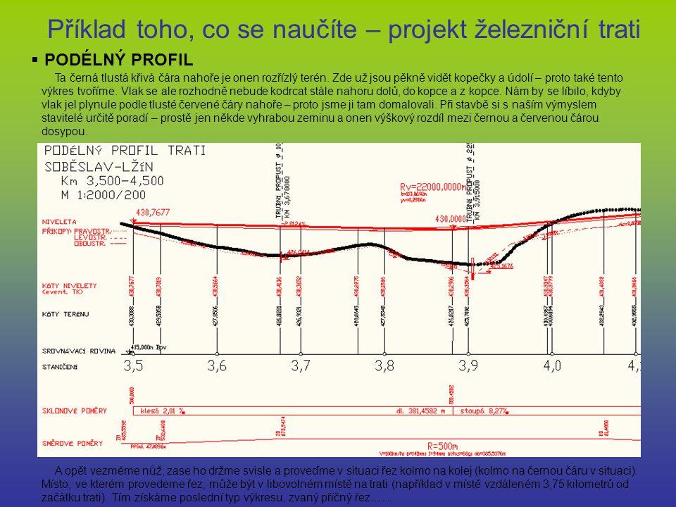 Příklad toho, co se naučíte – projekt železniční trati  PODÉLNÝ PROFIL Ta černá tlustá křivá čára nahoře je onen rozřízlý terén. Zde už jsou pěkně vi