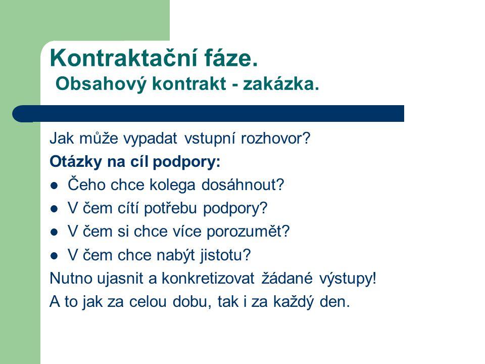 Kontraktační fáze.Obsahový kontrakt - zakázka. Jak může vypadat vstupní rozhovor.