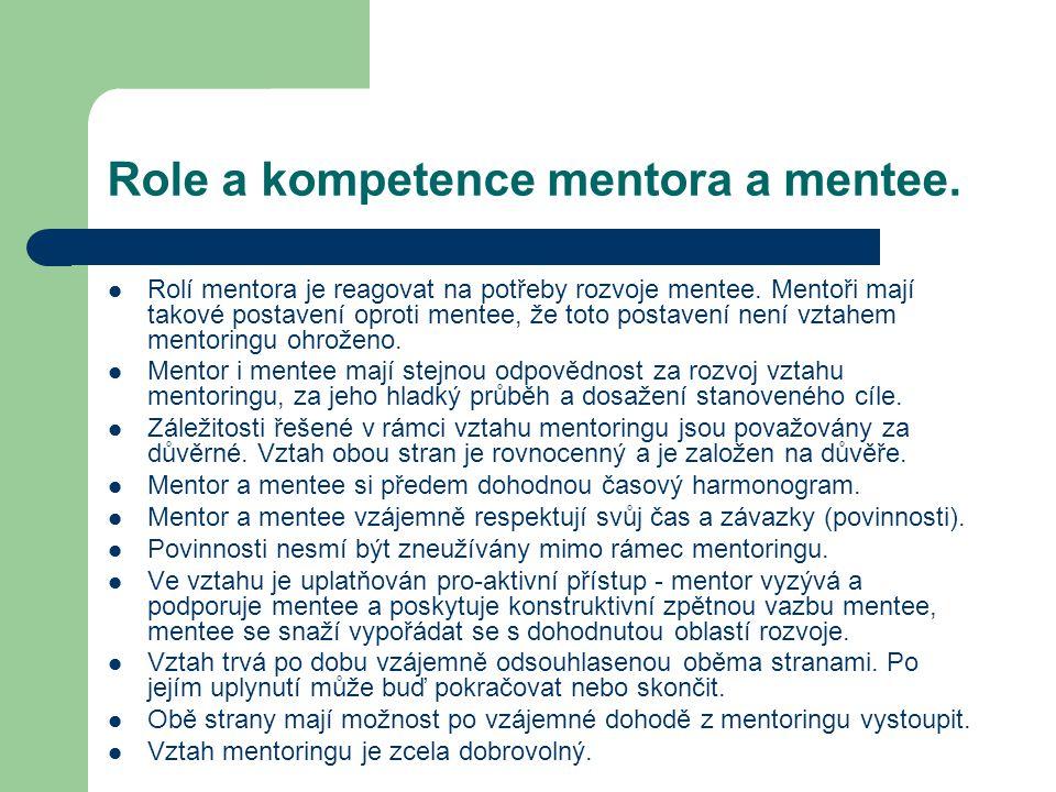 Role a kompetence mentora a mentee.Rolí mentora je reagovat na potřeby rozvoje mentee.