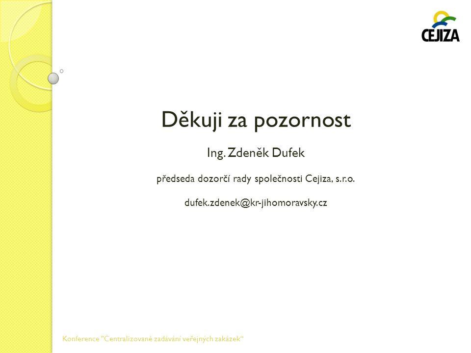 Děkuji za pozornost Ing. Zdeněk Dufek předseda dozorčí rady společnosti Cejiza, s.r.o. dufek.zdenek@kr-jihomoravsky.cz Konference