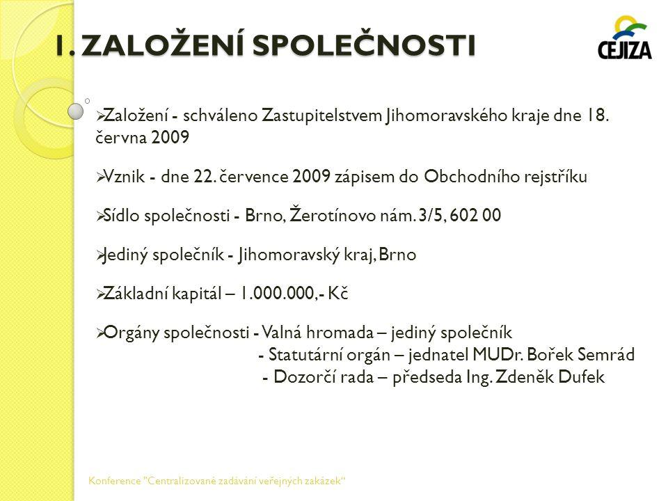1. ZALOŽENÍ SPOLEČNOSTI  Založení - schváleno Zastupitelstvem Jihomoravského kraje dne 18. června 2009  Vznik - dne 22. července 2009 zápisem do Obc