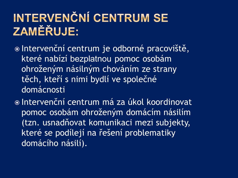  Intervenční centrum je odborné pracoviště, které nabízí bezplatnou pomoc osobám ohroženým násilným chováním ze strany těch, kteří s nimi bydlí ve sp