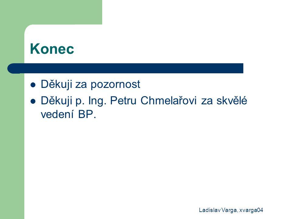 Ladislav Varga, xvarga04 Konec Děkuji za pozornost Děkuji p. Ing. Petru Chmelařovi za skvělé vedení BP.