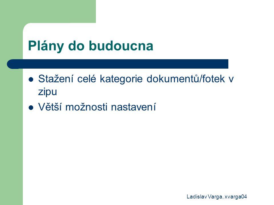 Ladislav Varga, xvarga04 Plány do budoucna Stažení celé kategorie dokumentů/fotek v zipu Větší možnosti nastavení