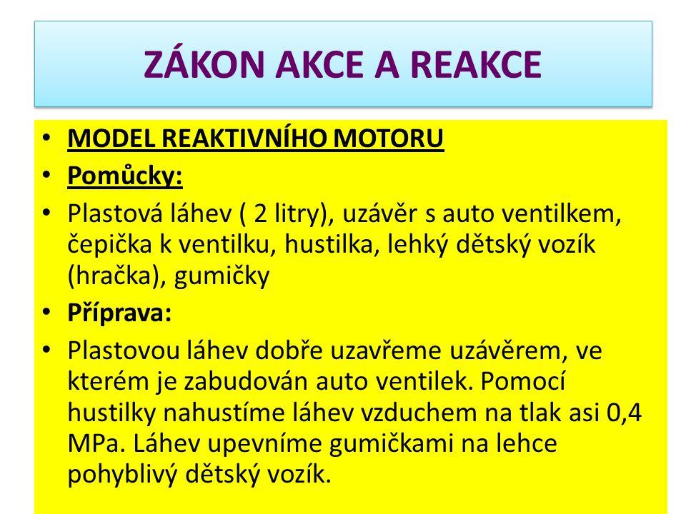 MODEL REAKTIVNÍHO MOTORU Pomůcky: Plastová láhev ( 2 litry), uzávěr s auto ventilkem, čepička k ventilku, hustilka, lehký dětský vozík (hračka), gumič