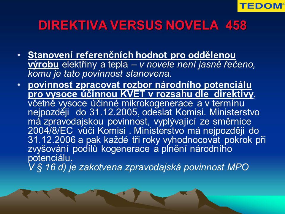 DIREKTIVA VERSUS NOVELA 458 Stanovení referenčních hodnot pro oddělenou výrobu elektřiny a tepla – v novele není jasně řečeno, komu je tato povinnost stanovena.