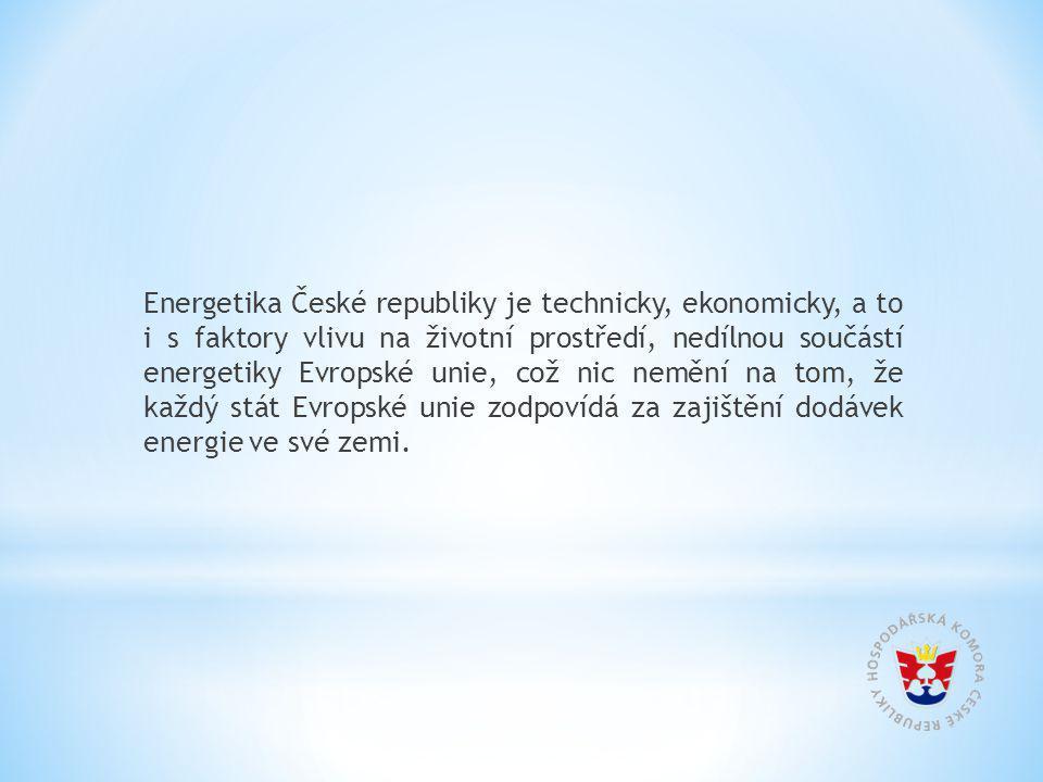 Energetika České republiky je technicky, ekonomicky, a to i s faktory vlivu na životní prostředí, nedílnou součástí energetiky Evropské unie, což nic nemění na tom, že každý stát Evropské unie zodpovídá za zajištění dodávek energie ve své zemi.