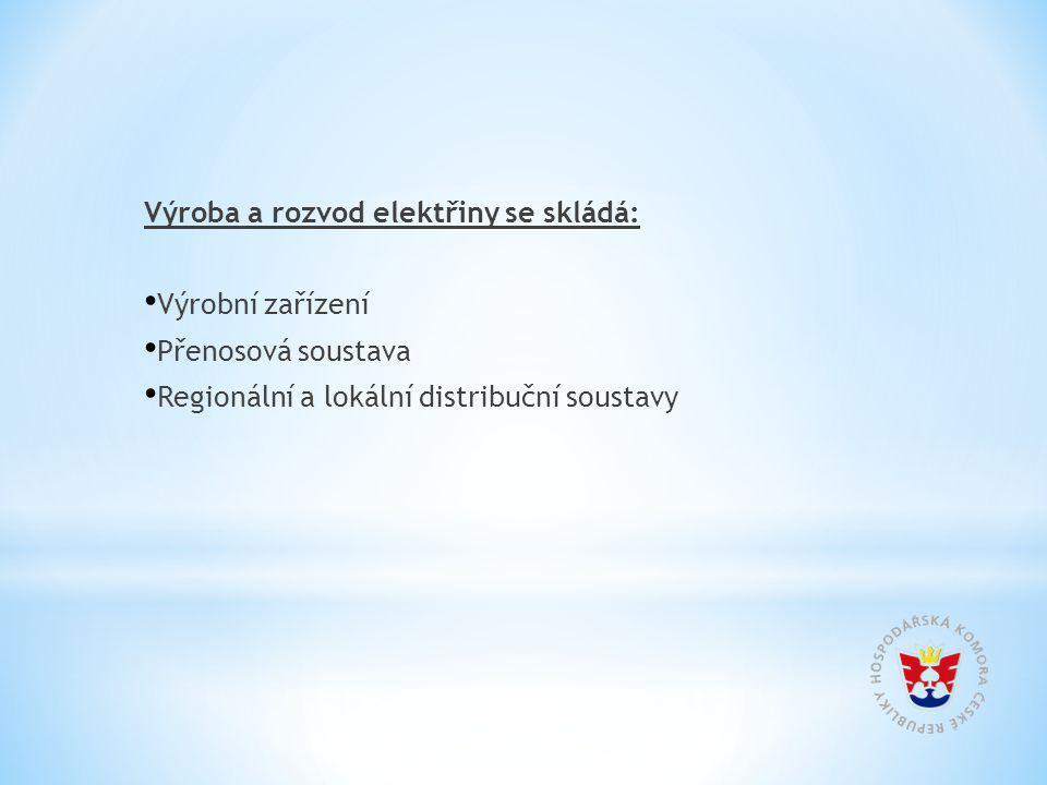 Výroba a rozvod elektřiny se skládá: Výrobní zařízení Přenosová soustava Regionální a lokální distribuční soustavy