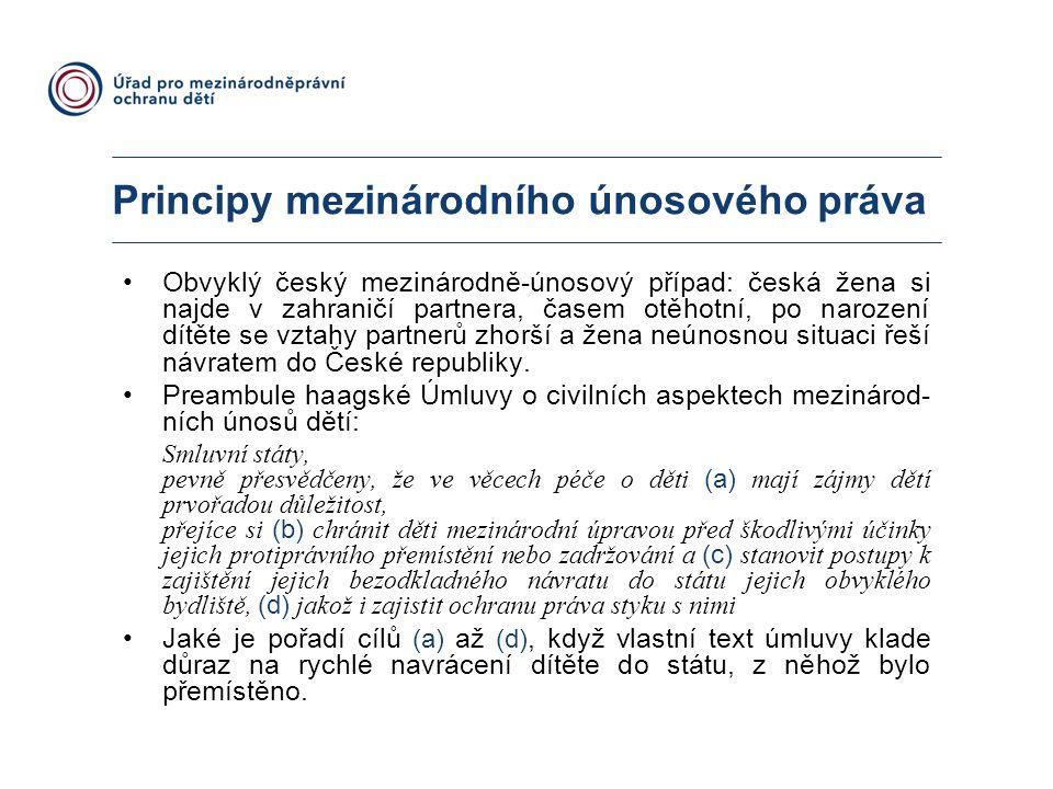 Principy mezinárodního únosového práva Obvyklý český mezinárodně-únosový případ: česká žena si najde v zahraničí partnera, časem otěhotní, po narození dítěte se vztahy partnerů zhorší a žena neúnosnou situaci řeší návratem do České republiky.