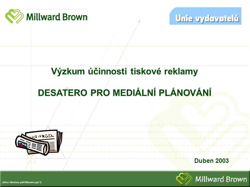 [drive:\directory path\filename.ppt 1] Výzkum účinnosti tiskové reklamy DESATERO PRO MEDIÁLNÍ PLÁNOVÁNÍ Duben 2003
