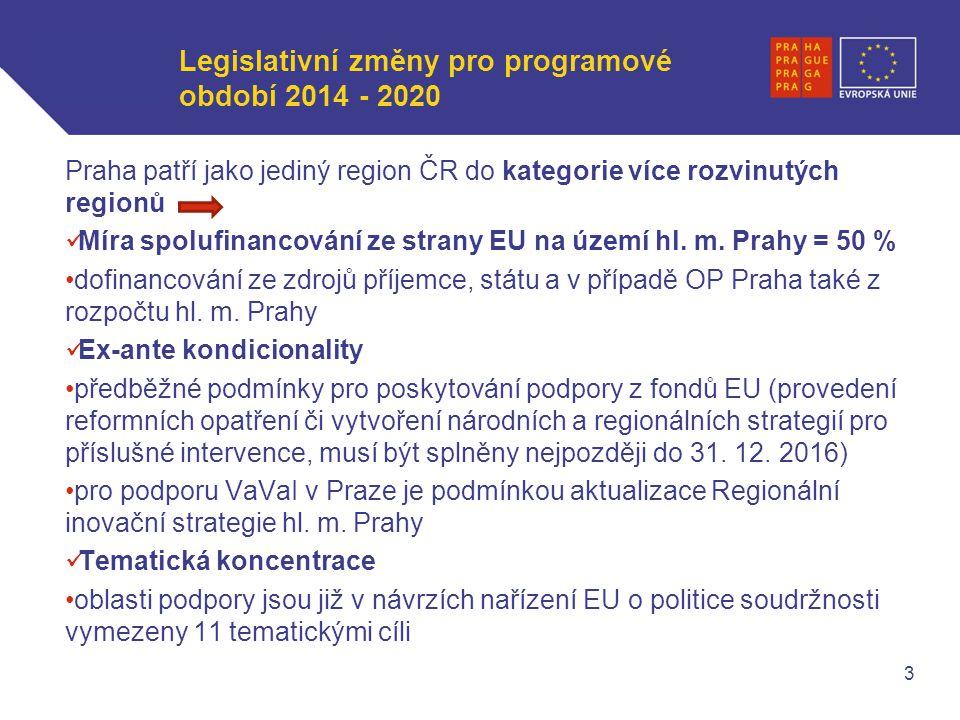WWW.OPPA.CZ | WWW.OPPK.CZ Legislativní změny pro programové období 2014 - 2020 Praha patří jako jediný region ČR do kategorie více rozvinutých regionů Míra spolufinancování ze strany EU na území hl.