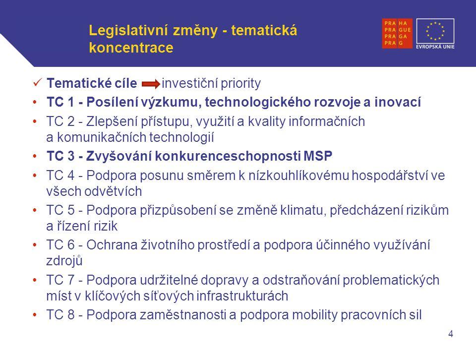 WWW.OPPA.CZ | WWW.OPPK.CZ Legislativní změny - tematická koncentrace Tematické cíle investiční priority TC 1 - Posílení výzkumu, technologického rozvoje a inovací TC 2 - Zlepšení přístupu, využití a kvality informačních a komunikačních technologií TC 3 - Zvyšování konkurenceschopnosti MSP TC 4 - Podpora posunu směrem k nízkouhlíkovému hospodářství ve všech odvětvích TC 5 - Podpora přizpůsobení se změně klimatu, předcházení rizikům a řízení rizik TC 6 - Ochrana životního prostředí a podpora účinného využívání zdrojů TC 7 - Podpora udržitelné dopravy a odstraňování problematických míst v klíčových síťových infrastrukturách TC 8 - Podpora zaměstnanosti a podpora mobility pracovních sil 4