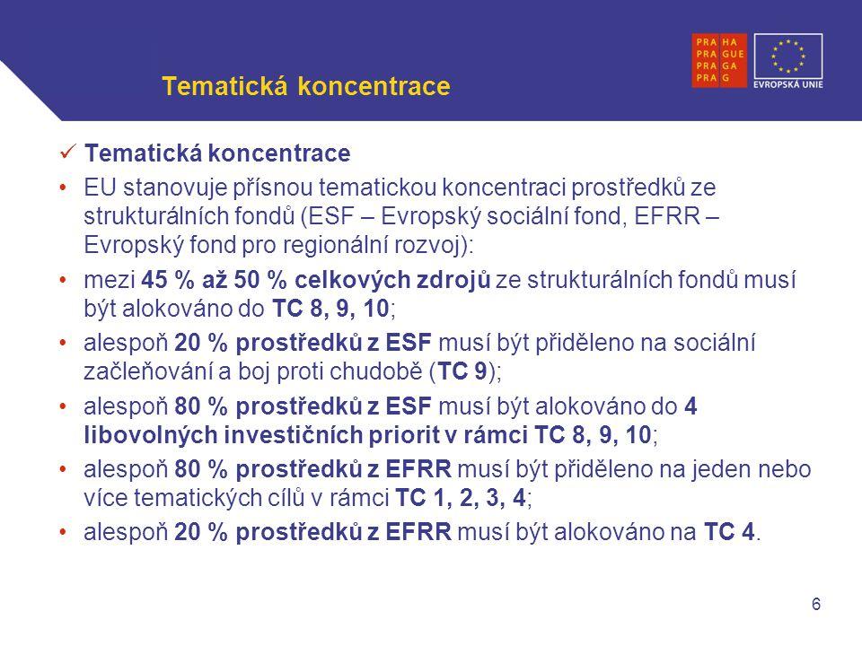 WWW.OPPA.CZ | WWW.OPPK.CZ Tematická koncentrace EU stanovuje přísnou tematickou koncentraci prostředků ze strukturálních fondů (ESF – Evropský sociální fond, EFRR – Evropský fond pro regionální rozvoj): mezi 45 % až 50 % celkových zdrojů ze strukturálních fondů musí být alokováno do TC 8, 9, 10; alespoň 20 % prostředků z ESF musí být přiděleno na sociální začleňování a boj proti chudobě (TC 9); alespoň 80 % prostředků z ESF musí být alokováno do 4 libovolných investičních priorit v rámci TC 8, 9, 10; alespoň 80 % prostředků z EFRR musí být přiděleno na jeden nebo více tematických cílů v rámci TC 1, 2, 3, 4; alespoň 20 % prostředků z EFRR musí být alokováno na TC 4.