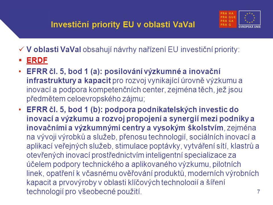 WWW.OPPA.CZ | WWW.OPPK.CZ Investiční priority EU v oblasti VaVaI V oblasti VaVaI obsahují návrhy nařízení EU investiční priority:  ERDF EFRR čl.