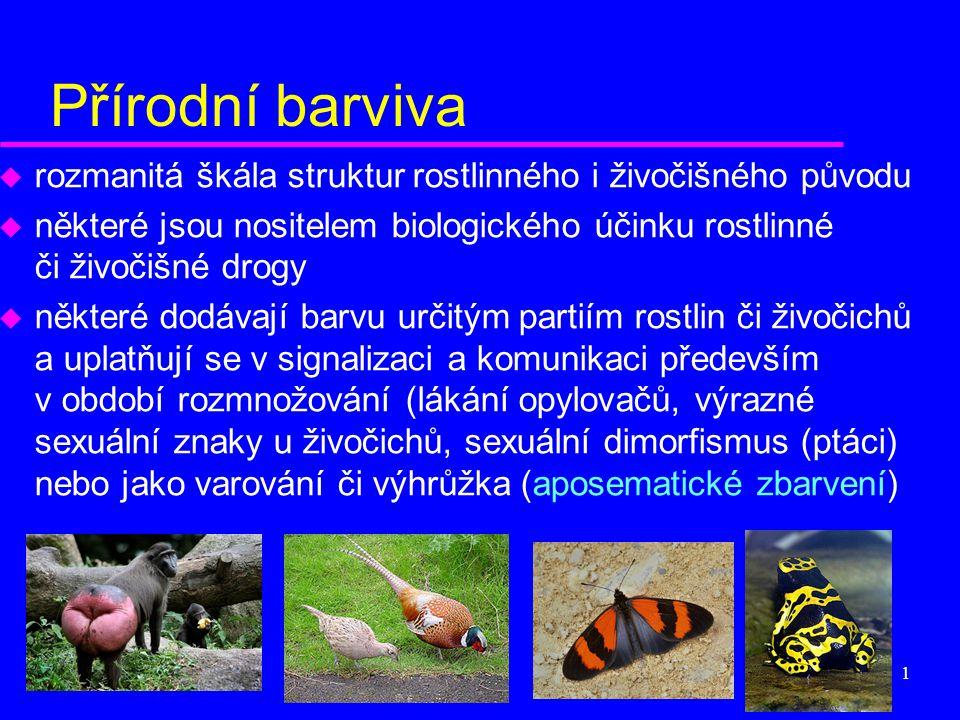 1 Přírodní barviva u rozmanitá škála struktur rostlinného i živočišného původu u některé jsou nositelem biologického účinku rostlinné či živočišné dro