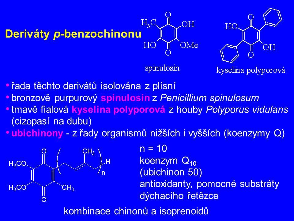 Deriváty p-benzochinonu řada těchto derivátů isolována z plísní bronzově purpurový spinulosin z Penicillium spinulosum tmavě fialová kyselina polyporo