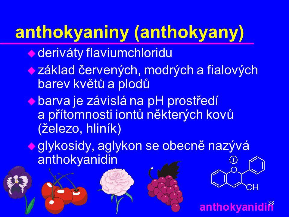 38 anthokyaniny (anthokyany) u deriváty flaviumchloridu u základ červených, modrých a fialových barev květů a plodů u barva je závislá na pH prostředí