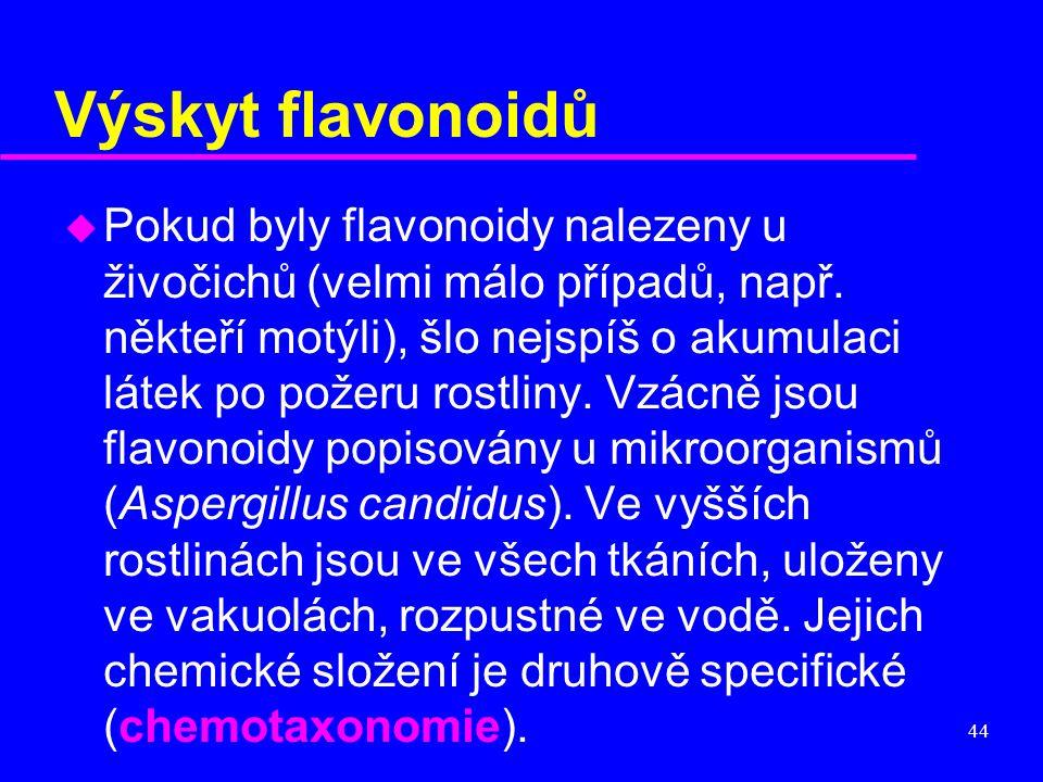 44 Výskyt flavonoidů u Pokud byly flavonoidy nalezeny u živočichů (velmi málo případů, např. někteří motýli), šlo nejspíš o akumulaci látek po požeru