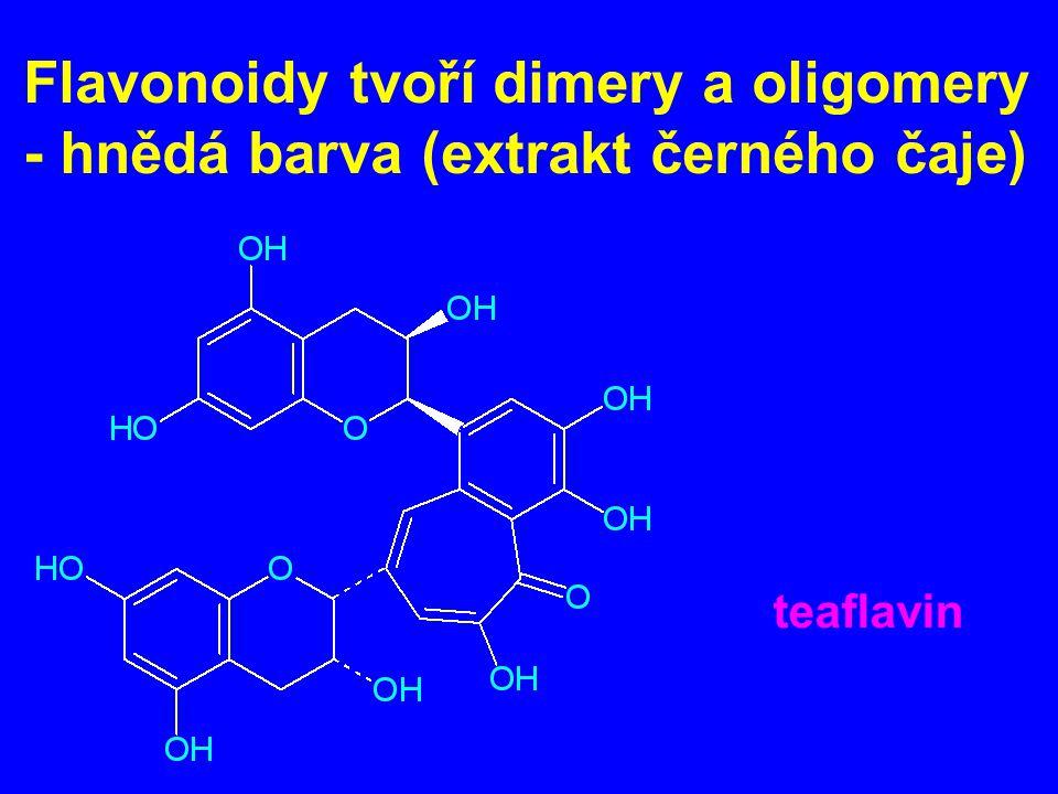 Flavonoidy tvoří dimery a oligomery - hnědá barva (extrakt černého čaje) teaflavin