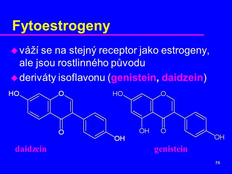 58 Fytoestrogeny u váží se na stejný receptor jako estrogeny, ale jsou rostlinného původu u deriváty isoflavonu (genistein, daidzein) daidzeingenistei