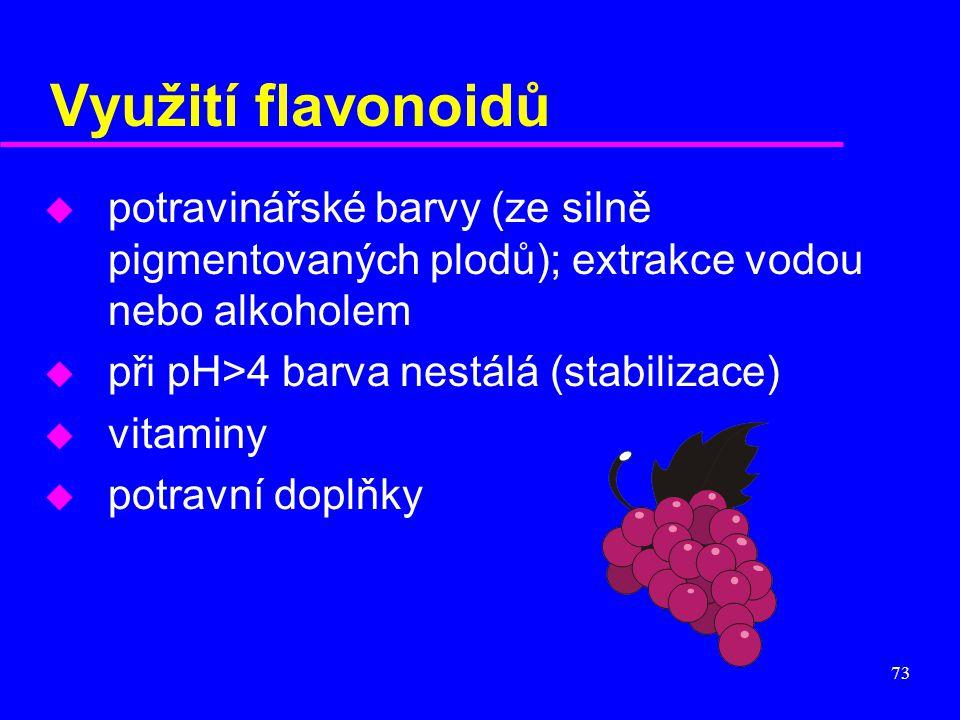 73 Využití flavonoidů u potravinářské barvy (ze silně pigmentovaných plodů); extrakce vodou nebo alkoholem u při pH>4 barva nestálá (stabilizace) u vi