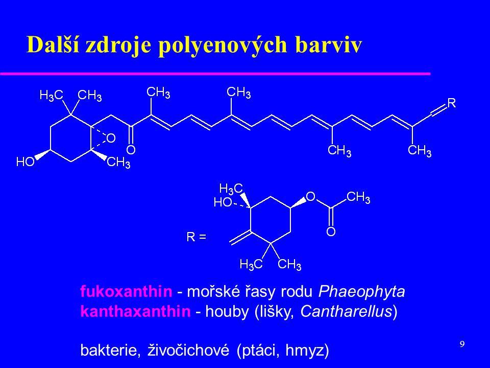9 fukoxanthin - mořské řasy rodu Phaeophyta kanthaxanthin - houby (lišky, Cantharellus) bakterie, živočichové (ptáci, hmyz) Další zdroje polyenových b