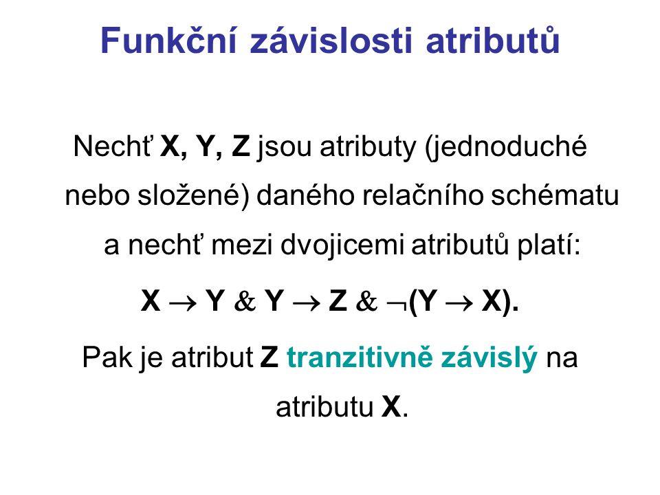 Funkční závislosti atributů Nechť X, Y, Z jsou atributy (jednoduché nebo složené) daného relačního schématu a nechť mezi dvojicemi atributů platí: X 