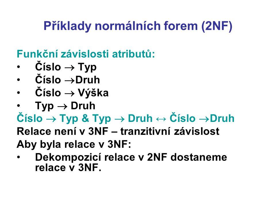 Příklady normálních forem (2NF) Funkční závislosti atributů: Číslo  Typ Číslo  Druh Číslo  Výška Typ  Druh Číslo  Typ & Typ  Druh ↔ Číslo  Druh