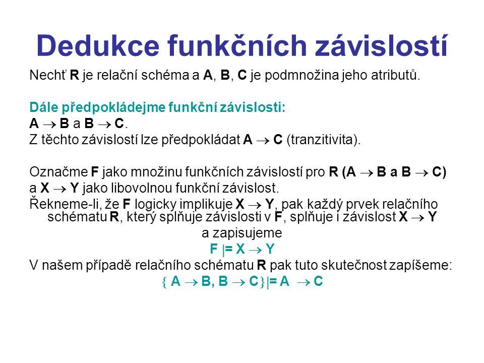 Dedukce funkčních závislostí Nechť R je relační schéma a A, B, C je podmnožina jeho atributů. Dále předpokládejme funkční závislosti: A  B a B  C. Z